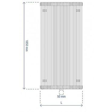 HushLab Fat Vertical grzejnik wertykalny podwójny 1850x570 2010W, biały - 729450_T2