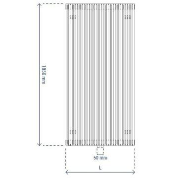 HushLab Fat Vertical grzejnik wertykalny podwójny 1850x608 2144W, biały - 729451_T2