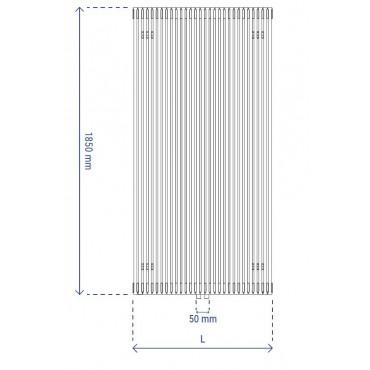 HushLab Fat Vertical grzejnik wertykalny pojedynczy 1850x342 851W, biały - 729423_T1