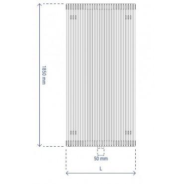 HushLab Fat Vertical grzejnik wertykalny pojedynczy 1850x532 1323W, biały - 729425_T1