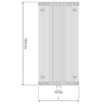 HushLab Fat Vertical grzejnik wertykalny pojedynczy 1850x646 1607W, biały - 729428_T1