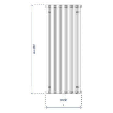 HushLab Fat Vertical grzejnik wertykalny pojedynczy 2250x456 1361W, biały - 729436_T1
