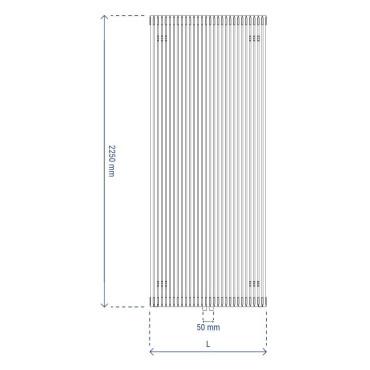 HushLab Fat Vertical grzejnik wertykalny pojedynczy 2250x608 1814W, biały - 729439_T1