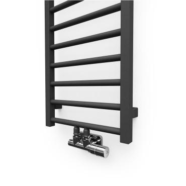 """Hushlab Stratto Metallic Black 500x1020- Grzejnik drabinkowy Stratto 1020/500mm kolor Metallic Black podł. 4x1/2"""" od dołu - 779239_O2"""