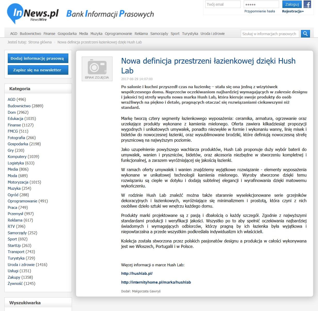 Hush Lab na Innews.pl