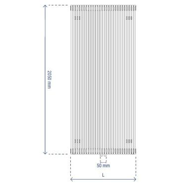 HushLab Fat Vertical grzejnik wertykalny pojedynczy 2050x608 1664W, biały - 729433_T1