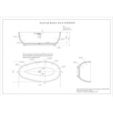 HushLab Bowls Aero wanna wolnostojąca 170x85 biała połysk - 739491_T1