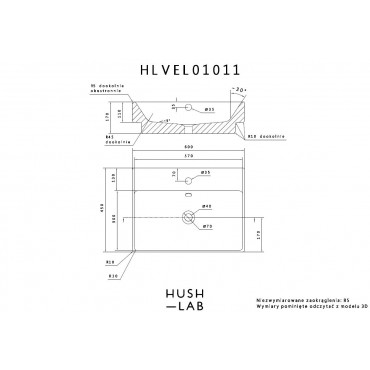 HushLab Friend umywalka wisząca 45x60 - 772188_T1