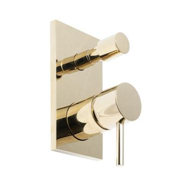 HushLab Lukka Gold Bateria wannowo-prysznicowa podtynkowa Złoty błyszczący - 820230_O1