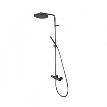 HushLab Siena Black Zestaw prysznicowy termostatyczny z desczownicą - 766679_O1